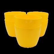 Cachepo elegance redondo 12x14 cm - amarelo - kit 06 un