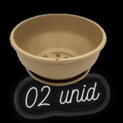 Cuia com prato - areia - 12 x 24 cm - kit 02 unid