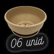 Cuia com prato - areia - 12 x 24 cm - kit 06 unid