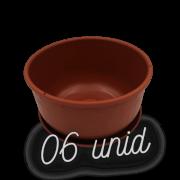 Cuia com prato - marrom - 09 x 15 cm kit 6 unid