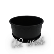 Cuia com prato - preto - 09 x 15 cm kit 2 unid