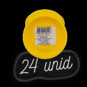 Prato plástico para vaso - amarelo - 07 cm - kit 24 unid