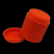Prato plástico para vaso - laranja - 09 cm - kit 12 unid