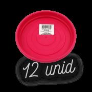 Prato plástico para vaso - rosa - 13 cm - kit 12 unid