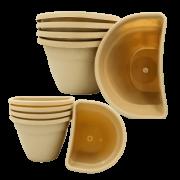 Vaso de parede - areia - kit 2 tamanhos - Kit 03 grandes 03 pequenos