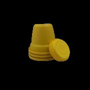 Vaso plastico com prato - amarelo - 10 x 13 cm - kit 03 unid