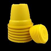 Vaso plastico com prato - amarelo - 10 x 13 cm - kit 06 unid