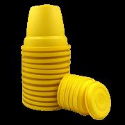 Vaso plástico com prato - amarelo - 16 x 19 cm - kit 12 unid