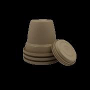 Vaso plastico com prato - areia - 10 x 13 cm - kit 03 unid