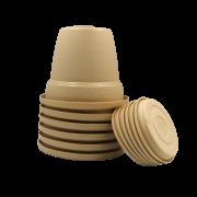 Vaso plastico com prato - areia - 10 x 13 cm - kit 06 unid