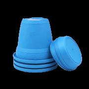 Vaso plastico com prato - azul - 16 x 19 cm - kit 03 unid