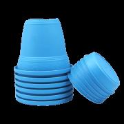 Vaso plastico com prato - azul - 16 x 19 cm - kit 06 unid