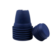 Vaso plástico com prato - azul marinho - 16 x 19 cm - kit 06 unid