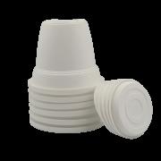 Vaso plastico com prato - branco - 10 x 13 cm - kit 06 unid