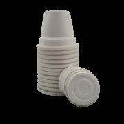 Vaso plastico com prato - branco - 10 x 13 cm - kit 12 unid