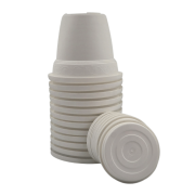 Vaso plástico com prato - branco - 10 x 13 cm - kit 12 unid
