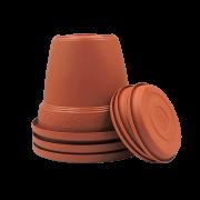 Vaso plástico com prato - ceramica - 10 x 13 cm - Kit 03 unid