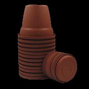 Vaso plástico com prato - ceramica - 10 x 13 cm - Kit 12 unid