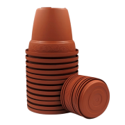 Vaso plástico com prato - cerâmica - 10 x 13 cm - Kit 12 unid