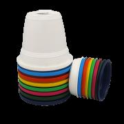 Vaso plastico com prato - kit colorido - 10 x 13 cm - 06 unidades