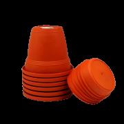 Vaso plastico com prato - laranja - 10 x 13 cm - kit 06 unid