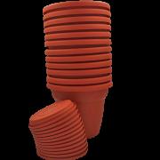 Vaso plastico com prato - laranja - 10 x 13 cm - kit 12 unid