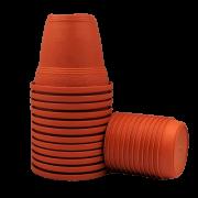 Vaso plástico com prato - laranja - 10 x 13 cm - kit 12 unid