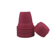 Vaso plastico com prato - rosa - 16 x 19 cm - kit 06 unid