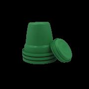 Vaso plastico com prato - verde - 10 x 13 cm - kit 03 unid