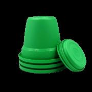 Vaso plastico com prato - verde - 16 x 19 cm - kit 03 unid