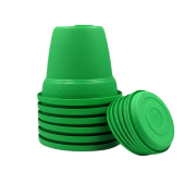 Vaso plastico com prato - verde - 16 x 19 cm - kit 06 unid