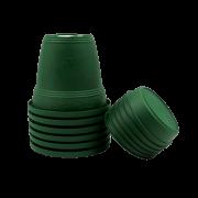 Vaso plastico com prato - verde escuro - 16 x 19 cm - kit 06 unid