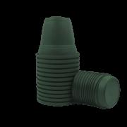 Vaso plastico com prato - verde escuro - 16 x 19 cm - kit 12 unid