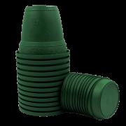 Vaso plástico com prato - verde escuro - 16 x 19 cm - kit 12 unid