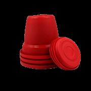 Vaso plastico com prato - vermelho - 10 x 13 cm - kit 03 unid