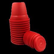 Vaso plastico com prato - vermelho - 16 x 19 cm - kit 12 unid