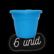 Vaso plastico - vicenza - azul - 16 x 19 cm - kit 06 unid