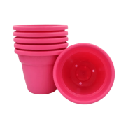 Vaso plastico - vicenza - rosa - 16 x 19 cm - kit 06 unid