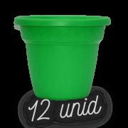 Vaso plastico - vicenza - verde - 16 x 19 cm - kit 12 unid