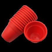 Vaso plastico - vicenza - vermelho - 10 x 13 cm - kit 10 unid