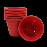 Vaso plastico - vicenza - vermelho - 16 x 19 cm - kit 06 unid