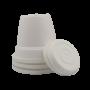 Vaso plástico com prato - branco - 16 x 19 cm - kit 03 unid