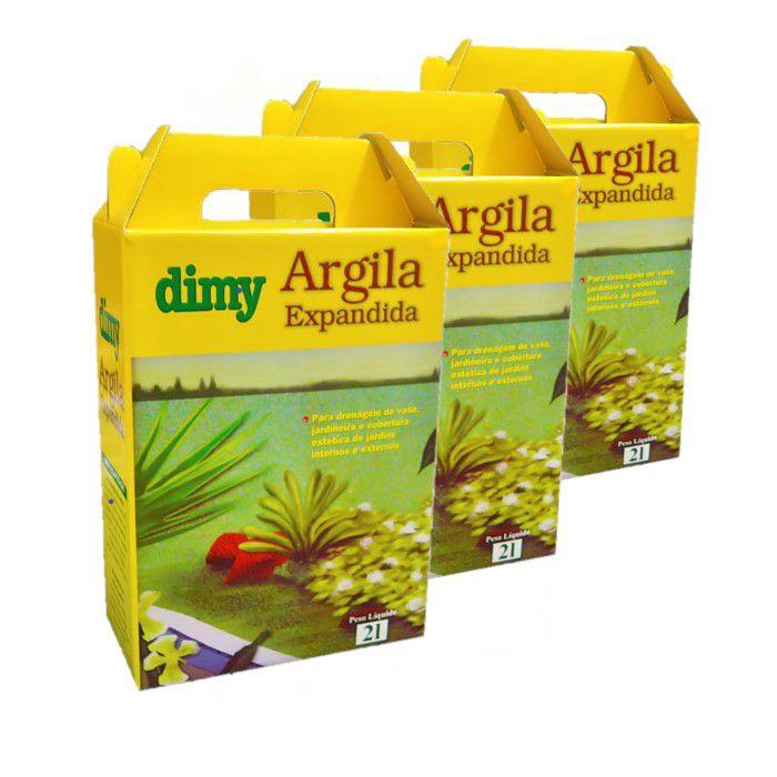 Argila Expandida - Dimy - kit 3 cx 2 litros + brinde