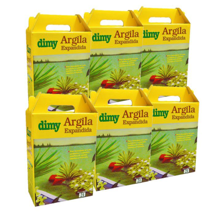 Argila Expandida - Dimy - kit 6 caixas 2 litros
