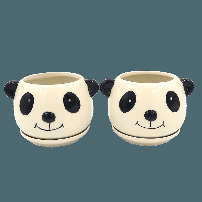 Cachepo de ceramica - 2 pandas