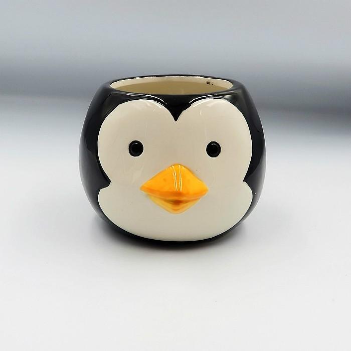 Cachepo de ceramica - 2 pinguins