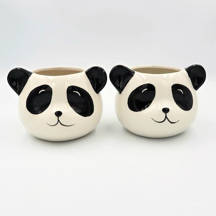 Cachepo de ceramica - 2 ursos panda