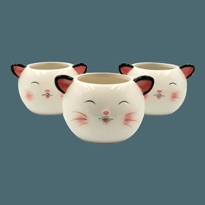Cachepo de ceramica - 3 gatinhos