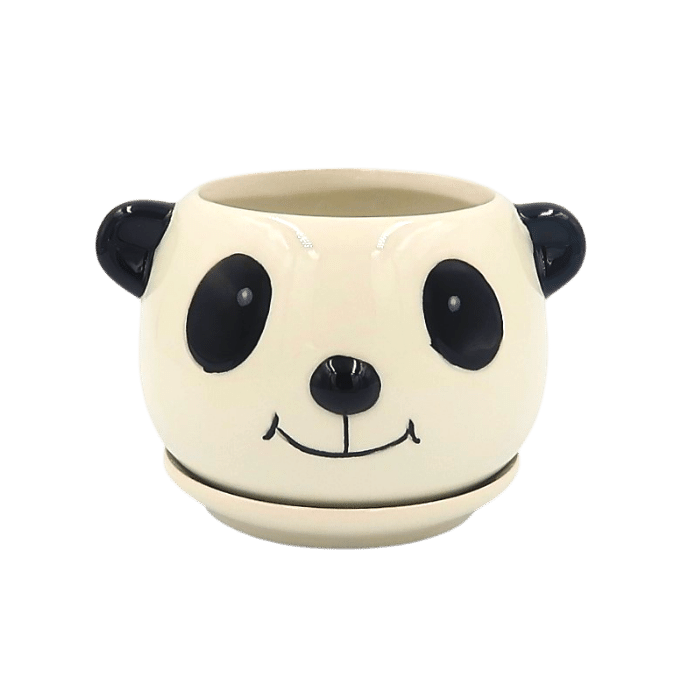 Cachepo de ceramica - 3 pandas