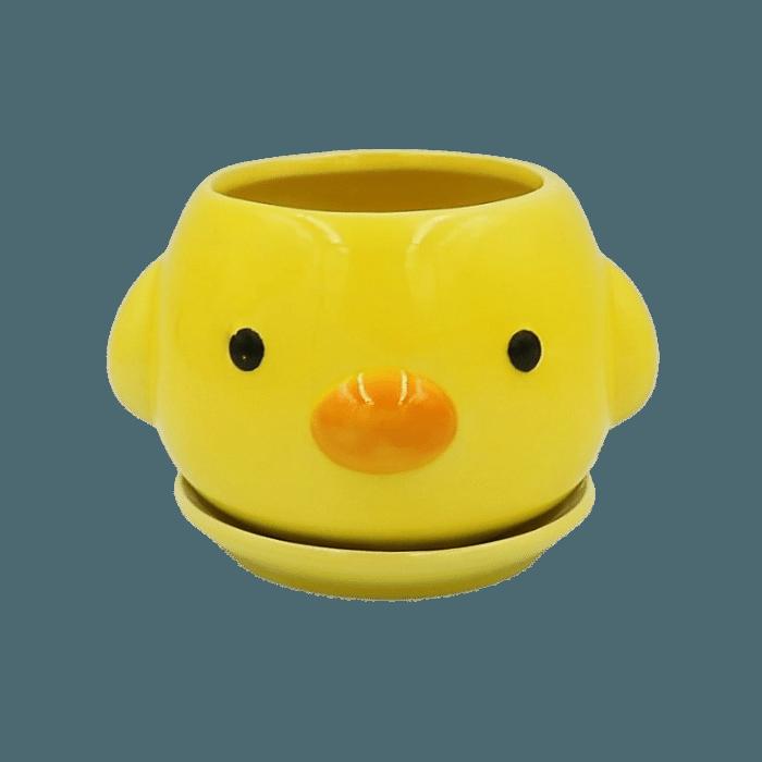 Cachepo de ceramica - 3 pintinhos